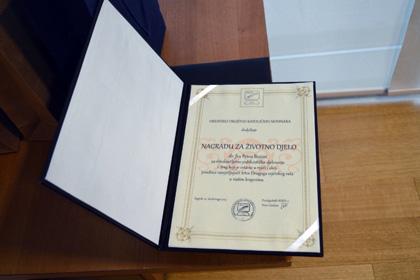 Fra Petar Bezina - nagrada za životno djelo
